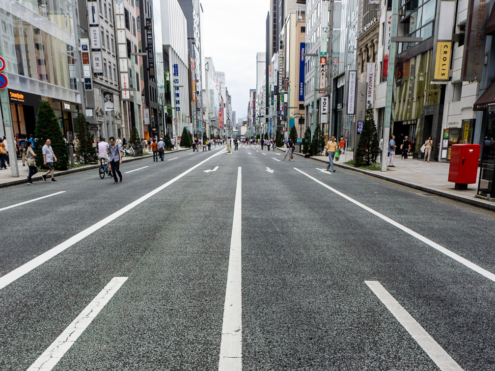 Ginza is a pedestrian zone on weekends. Photo: Daniel